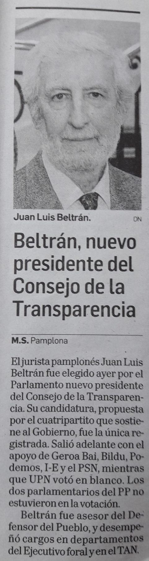 Beltrán, nuevo presidente del Consejo de la Transparencia