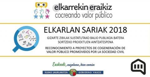 Abierta la convocatoria de los Premios Elkarlan 2018 de proyectos de cogeneración de valor público